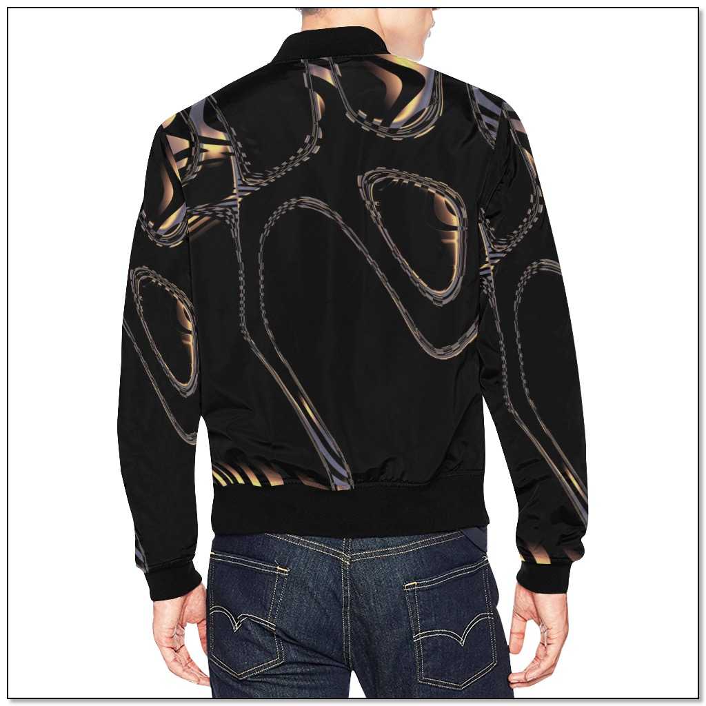 Dramatic Black Fractal bomber jacket for men by Gingezel at ArtsAdd